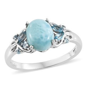 Larimar, Blue Topaz Platinum Over Sterling Silver Ring (Size 7.0) TGW 2.18 cts.
