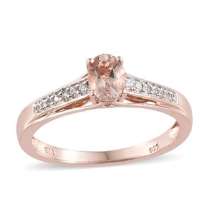 Customer Appreciation Day Marropino Morganite, Cambodian Zircon Vermeil RG Over Sterling Silver Ring (Size 7.0) TGW 0.78 cts.