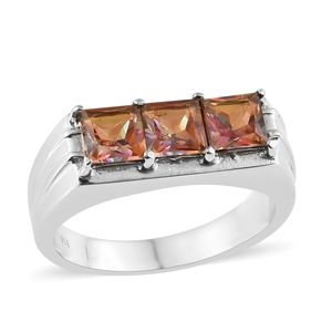 Northern Lights Twilight Topaz Stainless Steel Trilogy Men's Ring (Size 12.0) TGW 4.10 cts.