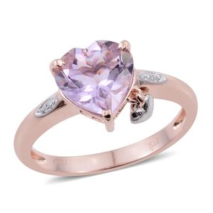 KARIS Collection - Rose De France Amethyst ION Plated 18K RG Brass Heart Charm Ring (Size 7.0) TGW 3.00 cts.