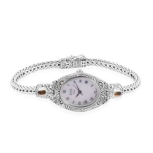 EON 1962 Yellow Sapphire Swiss Movement Water Resistant Ladies Bracelet Watch in Sterling Silver TGW 0.89 cts.