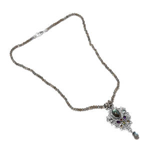 Artisan Crafted Multi Gemstone Platinum Over Sterling Silver Pendant With Labradorite Beads Necklace (20 in) TGW 69.93 cts.