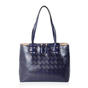 Navy Greek Key Embossed Faux Leather Tote Bag Standing Studs (15x5.5x11 in) e2d632454d52b