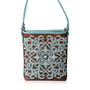 P G COLLECTION Brown and Turquiose Vegan Leather Laser Cut Scroll Southwest  Messenger Crossbody Bag (10.5 9ddd73f57f51c