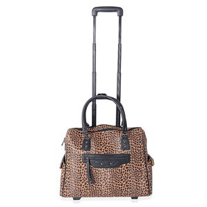 e7d23c9a6e3 MEGA CLEARANCE Brown, Black Leopard Pattern Vegan Leather Rolling Tote  Carry-on Luggage (19x6x15 in)