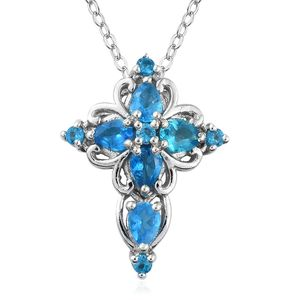 88d70a8398 Malgache Neon Apatite Platinum Over Sterling Silver Cross Pendant With Chain  (20 in) 1.00
