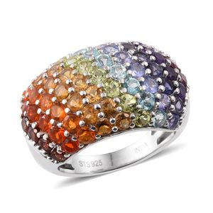 Multi Gemstone Platinum Over Sterling Silver Ring (Size 7.0) TGW 4.216 cts.