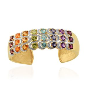 Multi Gemstone 14K YG Over Sterling Silver Cuff (7.00 in) TDiaWt 0.02 cts, TGW 12.670 cts.