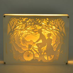 Decorative 3D Lovers Stroll Paper Cut Light Box with USB Cable (3AAA Batteries Not Included) (8x6 in)