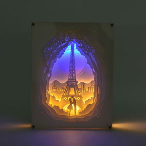 Decorative 3D Eiffel Tower Paper Cut Light Box with USB Cable (3AAA Batteries Not Included) (8x6 in)