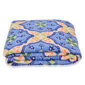 Blue Square Pattern Microfiber Flannel Blanket (92x60 in)