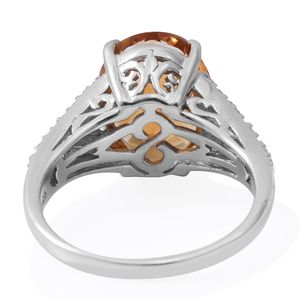 Brazilian Citrine, Multi Gemstone Platinum Over Sterling Silver Ring (Size 6.0) TGW 9.55 cts.